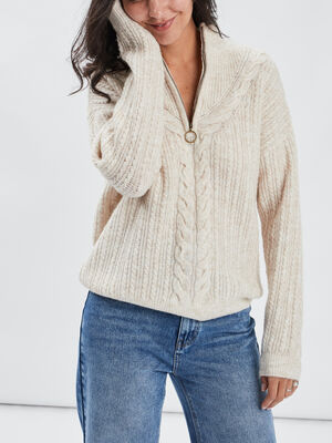 Pull col montant beige femme