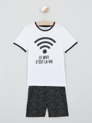 Pyjama short wifi en coton noir garcon