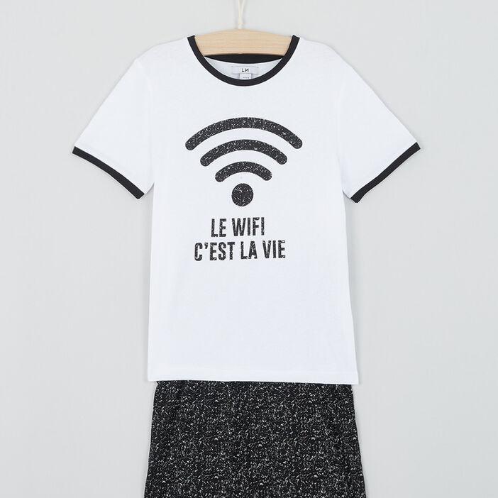 Pyjama short wifi en coton garçon noir