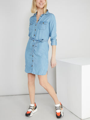 Robe chemise a manches ajustables denim stone femme
