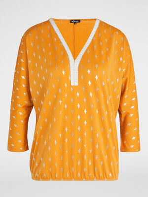 T shirt col tunisien losanges irises jaune moutarde femme
