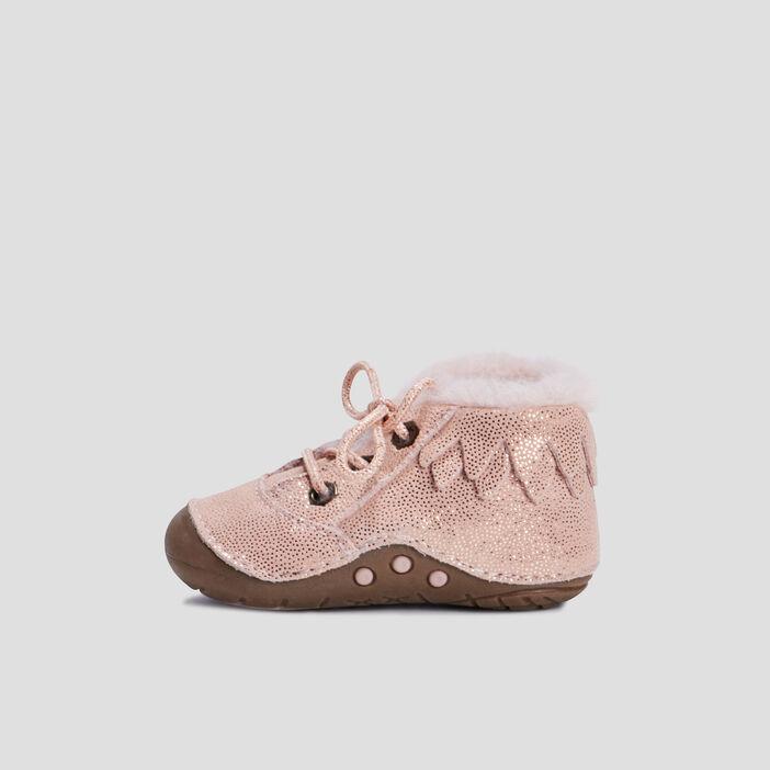 Bottines avec col fourré bébé fille rose
