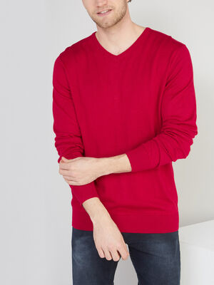Pull maille jersey col V rouge homme