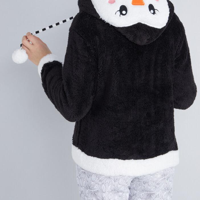 Veste de pyjama pingouin à capuche femme noir