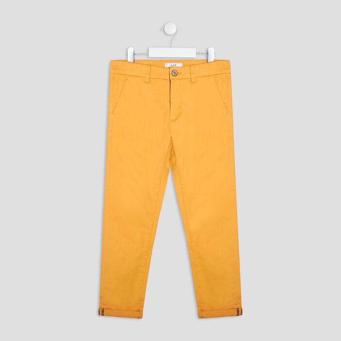 Pantalon chino garçon jaune moutarde