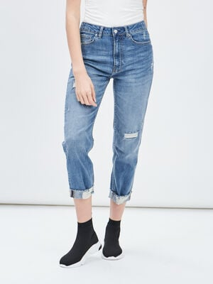 Jeans straight destroy Creeks denim double stone femme