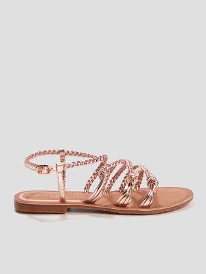 Sandales a brides tressees rose femme