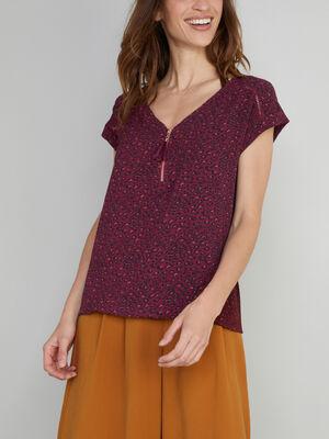 Blouse imprimee avec zip apparent prune femme
