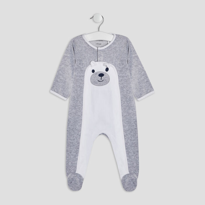 Dors-bien effet velours bébé gris
