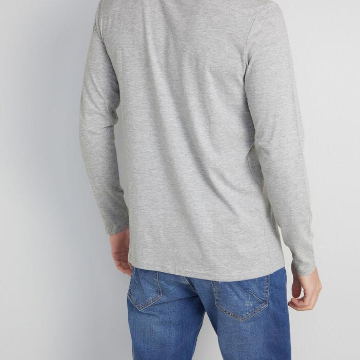 T-shirt manches longues col cheminée homme gris