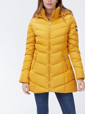 Doudoune droite a capuche jaune moutarde femme