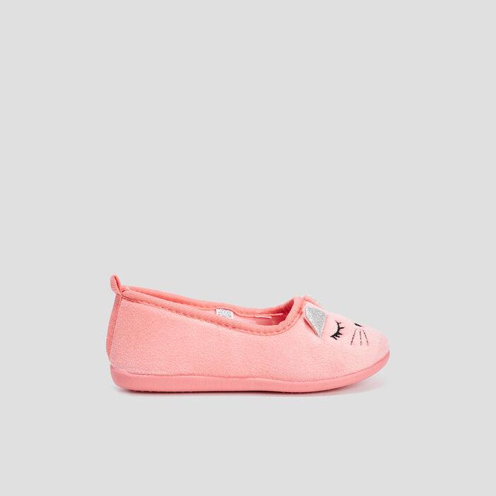 Chaussons ballerines fille orange corail