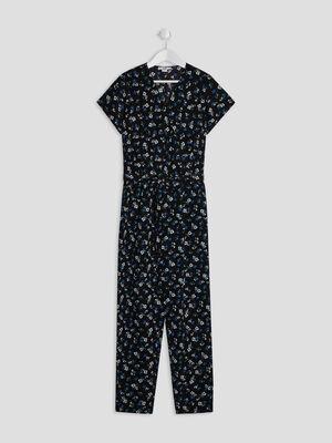 Combinaison pantalon ceinture noir fille