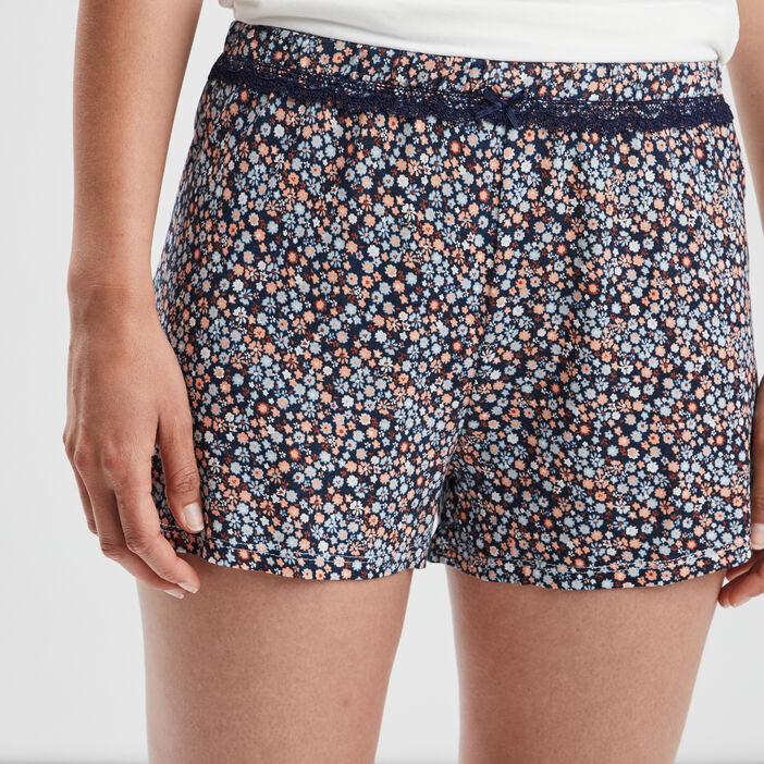 Bas de pyjama short femme bleu