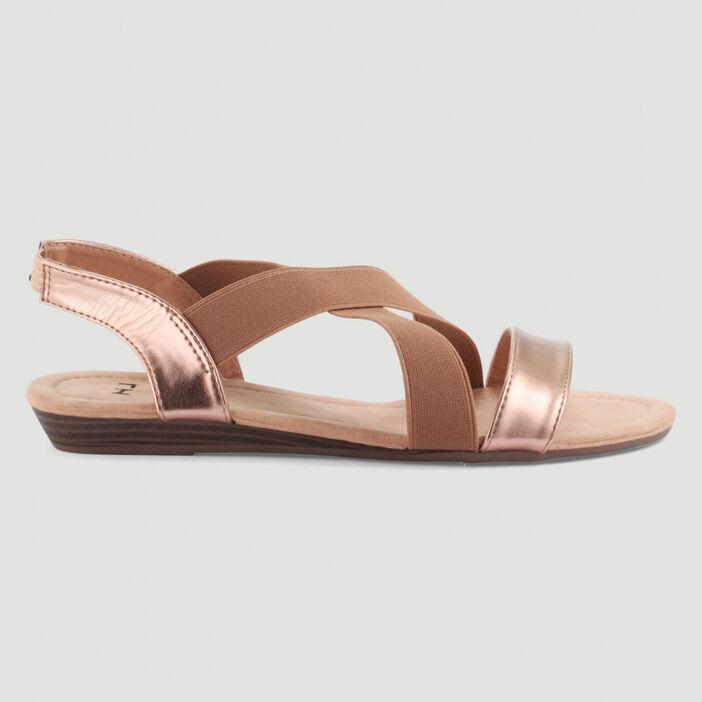 Sandales élastiquées petit compensé femme rose