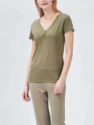 T shirt de pyjama vert kaki femme