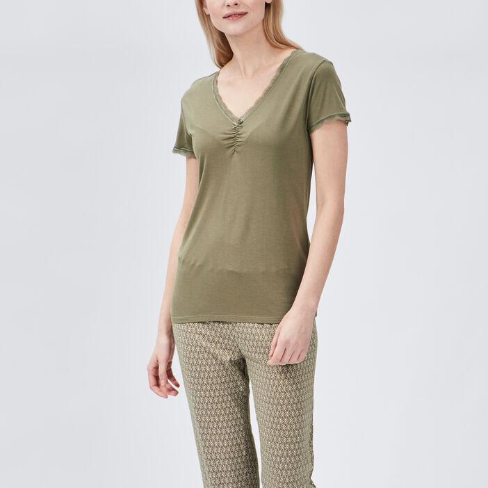 T-shirt de pyjama femme vert kaki
