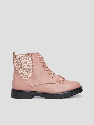 Bottines a lacets rose femme