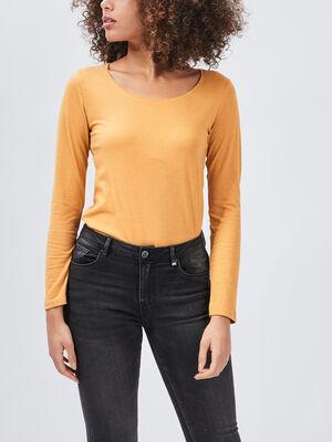 T shirt manches longues jaune moutarde femme
