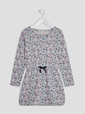 Robe evasee coton imprime multicolore gris fille
