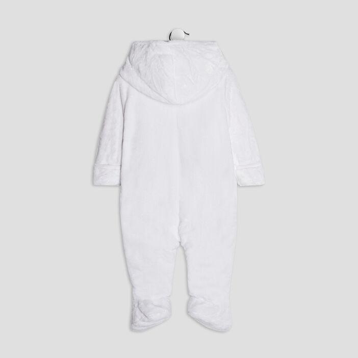 Combinaison à capuche zippée bébé garçon blanc