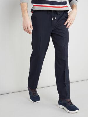 Pantalon ceinture en molleton bleu marine homme