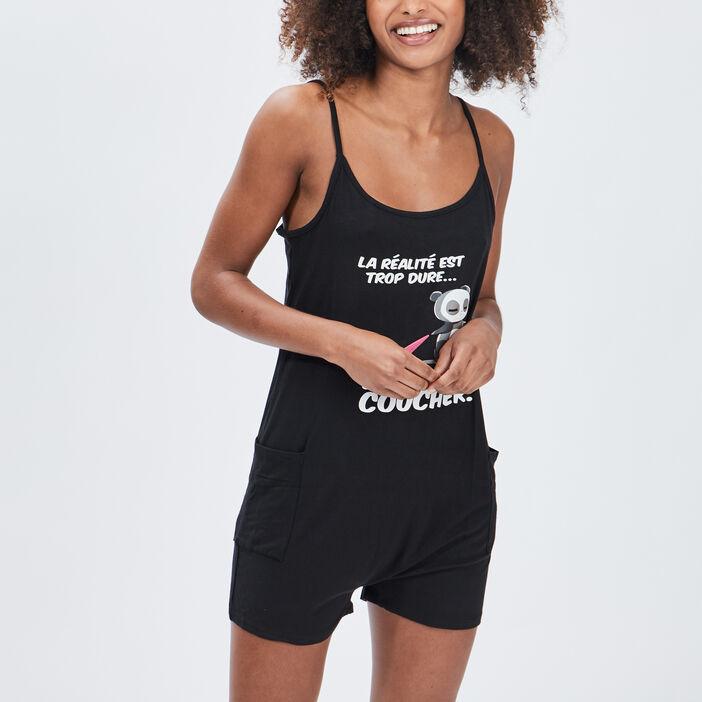 Combishort pyjama femme noir
