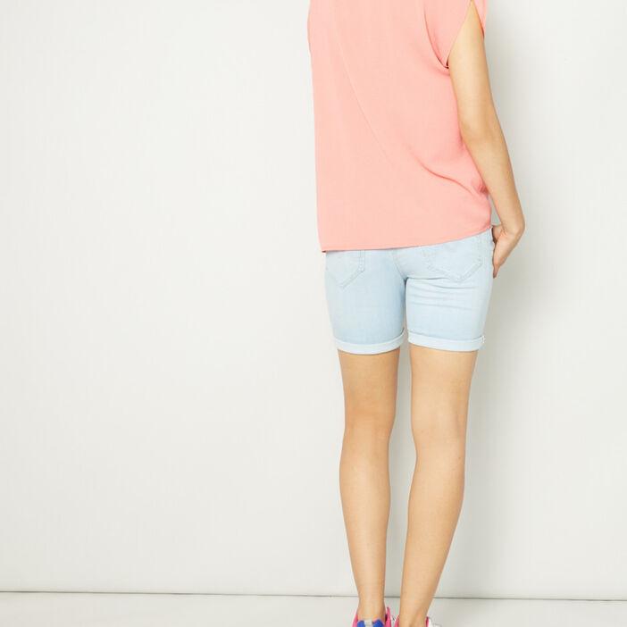 Short slim en jean délavé femme denim bleach