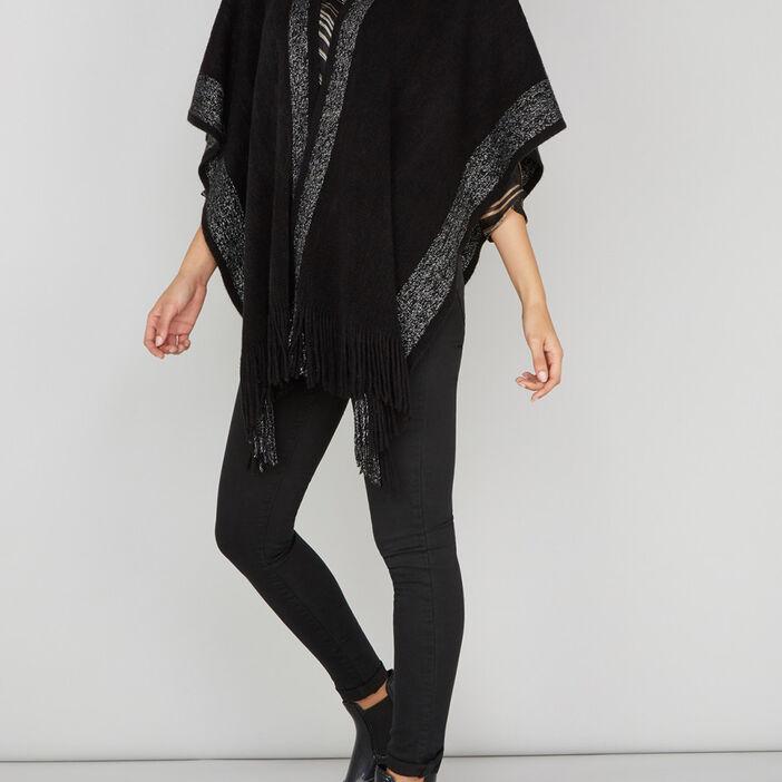 Poncho avec bandes métallisées femme noir