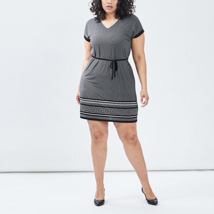 Robe droite ceinturée femme grande taille noir