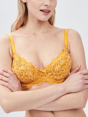 Soutien gorge triangle jaune moutarde femme