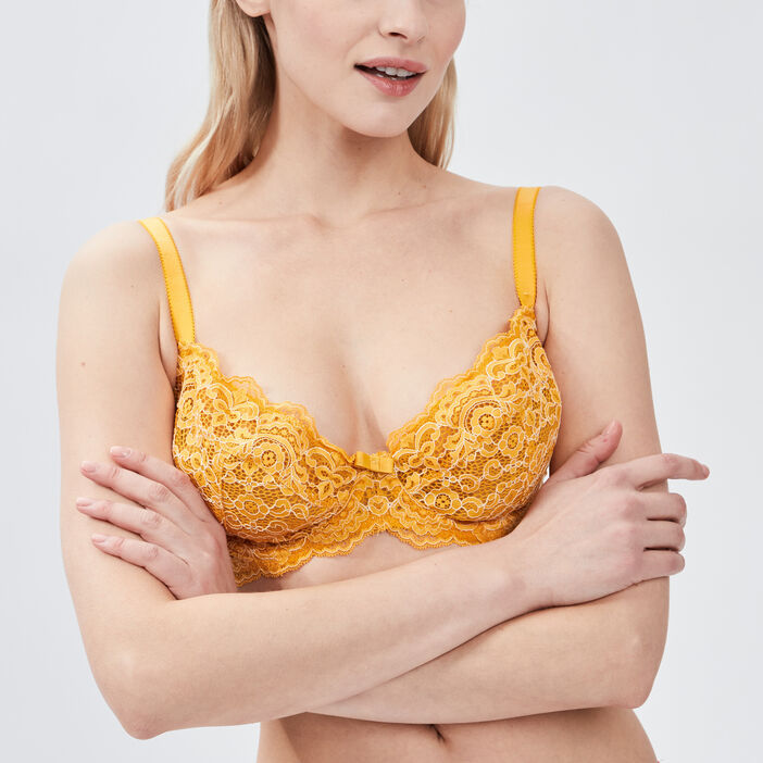 Soutien-gorge triangle femme jaune moutarde