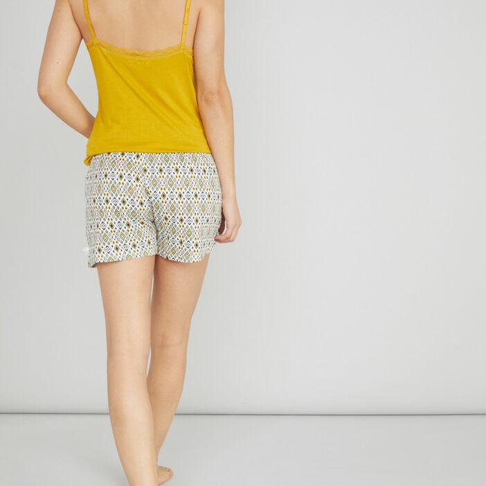Bas de pyjama short femme ecru