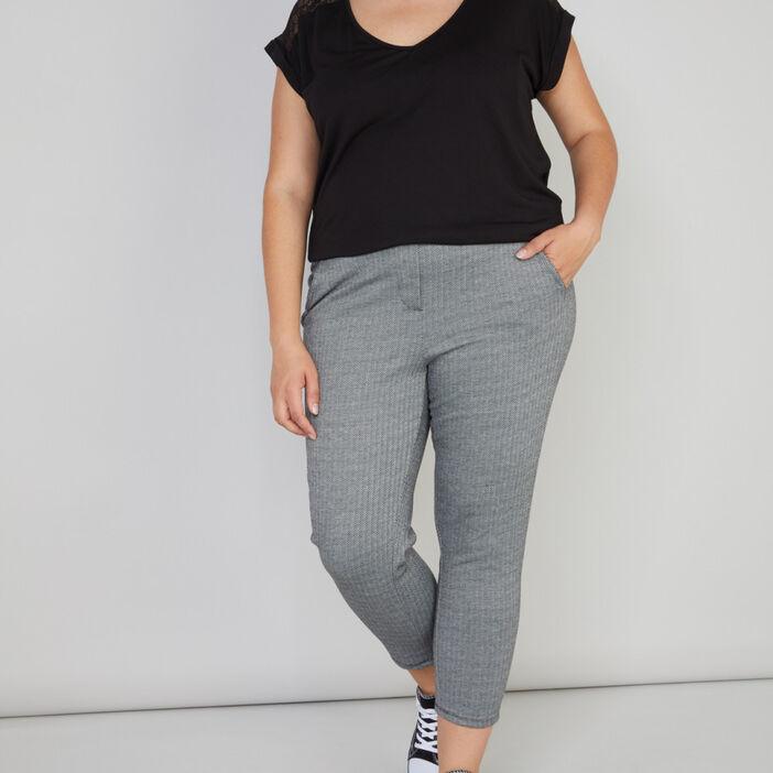 Pantalon cigarette 7/8 à chevrons femme grande taille gris