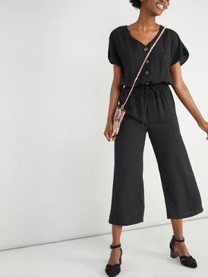Combinaison pantalon unie taille elastiq noir femme