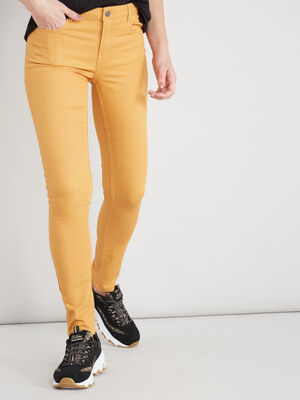 Pantalon skinny taille basse jaune moutarde femme