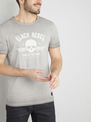 T shirt coton effet tie and dye gris homme