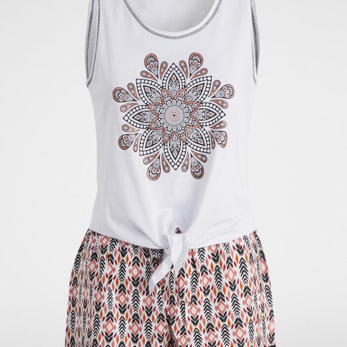 Pyjama 2 pièces coton mélangé femme blanc
