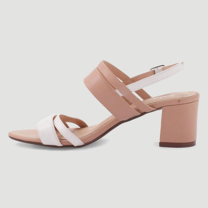 Sandales bicolores à talon carré femme beige