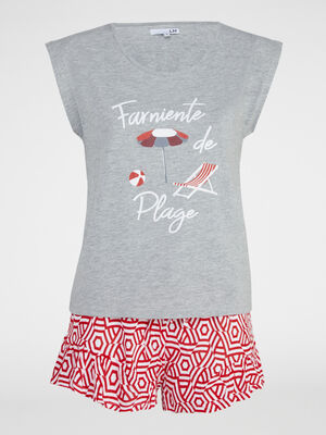Pyjama short Tchip imprime gris femme