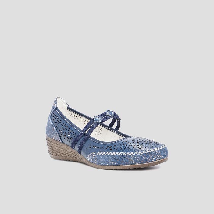 Escarpins perforés en cuir femme bleu