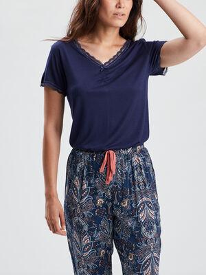 T shirt de pyjama bleu marine femme