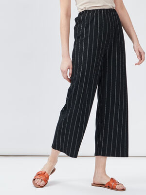 Pantalon raye taille elastiquee noir femme