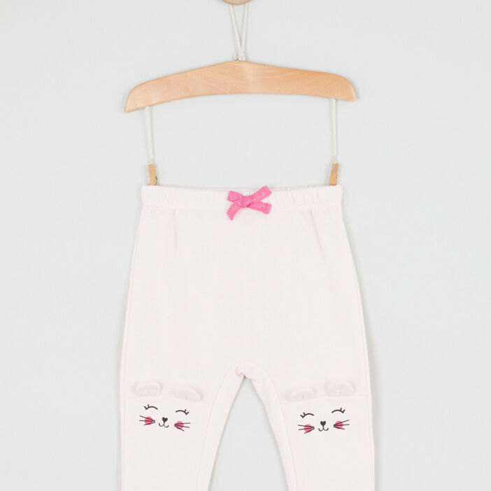Pantalon broderies et détails 3D fille rose clair