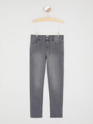 Jean skinny coutures bicolores gris garcon