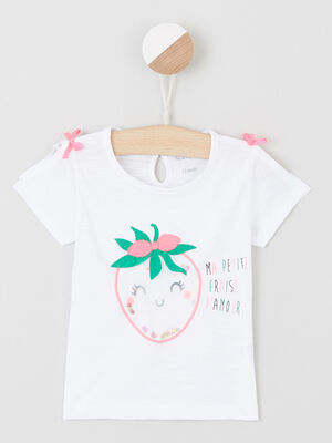 T shirt a manches courtes fendues blanc fille