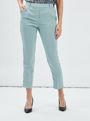 Pantalon droit a pinces vert clair femme
