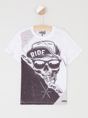 T shirt col rond avec imprime blanc garcon