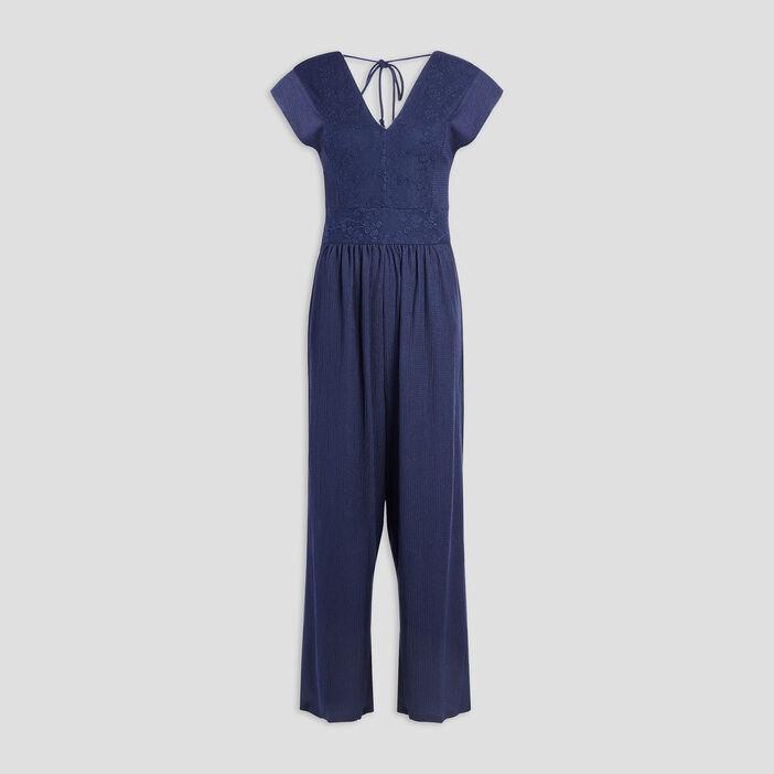 Combinaison pantalon droite femme bleu marine