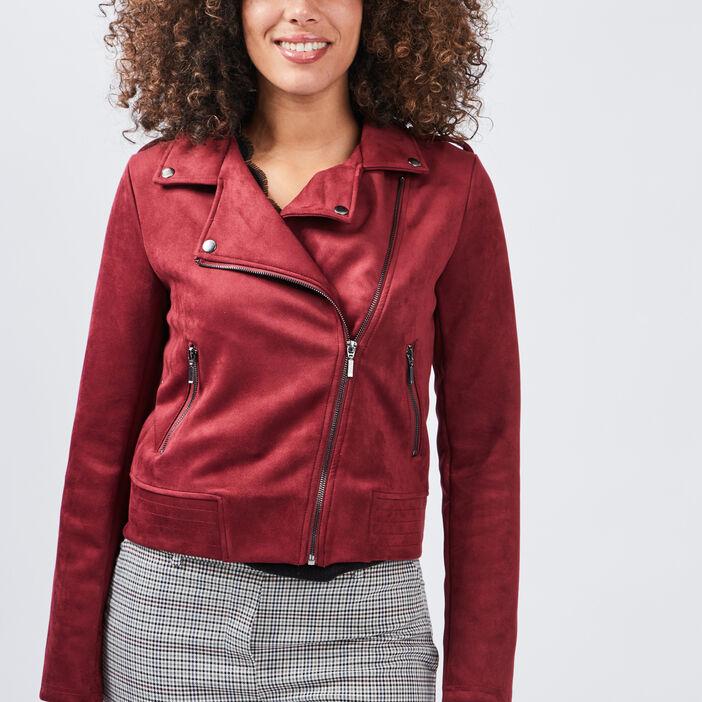 Veste droite effet suédine femme rouge